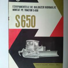 Brosura tehnica - ECHIPAMENTELE DE BULDOZER HIDRAULIC MONTAT PE TRACTOR S-650, perioada comunista. - Carti Constructii