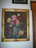 Tablou trandafiri ulei pe panza semnat Florescu C