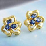Cercei dublu placati aur 18K cristale zirconiu, cod A14 - Cercei Fashion