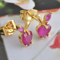 Cercei deosebiti aur filat 9k cristale zirconiu roz A6 - Cercei placati cu aur