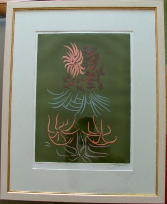 Jacques HEROLD ( 1910, Piatra Neamt ; 1987, Paris) ; Compozitie suprarealista - litografie color cu elemente embosate, rara ! foto