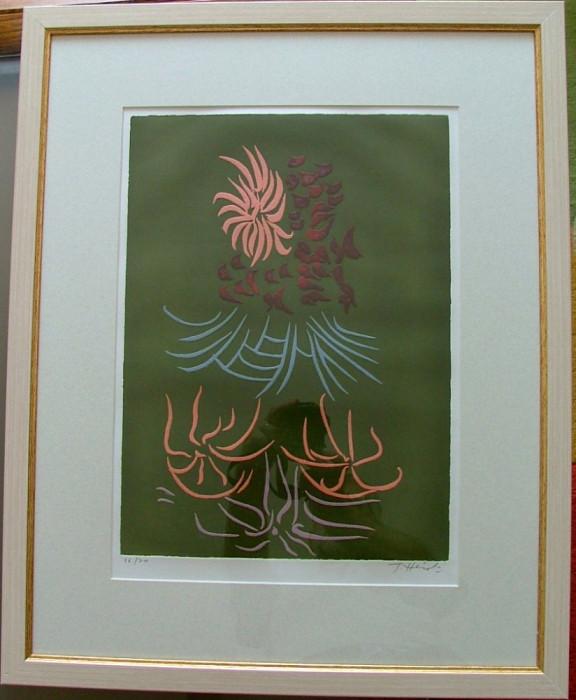 Jacques HEROLD ( 1910, Piatra Neamt ; 1987, Paris) ; Compozitie suprarealista - litografie color cu elemente embosate, rara !