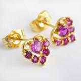 Cercei dublu placati aur 18K cristale zirconiu, cod A15 - Cercei Fashion
