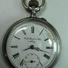 CEAS DE BUZUNAR - ARGINT - C.D.BAAB ET SOHN ALZEY - STARE DE FUNCTIONARE - DIAMETRUL 5 CM - Ceas de buzunar vechi