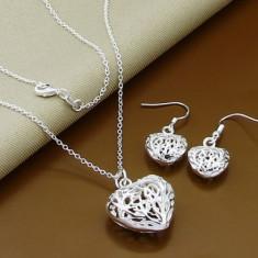 Set bijuterii (colier + pandantiv + cercei) argint 925; 44 cm lungime lantisor - Set bijuterii argint