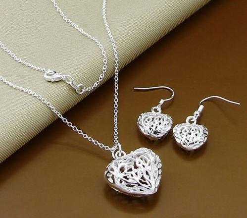 Set bijuterii (colier + pandantiv + cercei) argint 925; 44 cm lungime lantisor