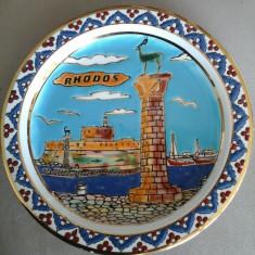 Farfurie DECO - suvenir RODHOS (placata cu AUR 24K) - Portelan, Decorative