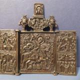 ICOANA SUPERBA Triptychon DE CALATORIE RUSEASCA ANUL 1800 BRONZ