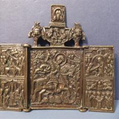 ICOANA SUPERBA Triptychon DE CALATORIE RUSEASCA ANUL 1800 BRONZ - Icoana din metal