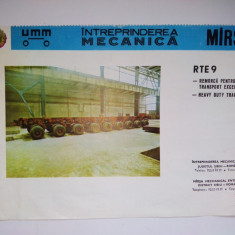 Reclama romaneasca - REMORCA PENTRU TRANSPORT EXCEPTIONAL - RTE 9, Intreprinderea Mecanica Marsa - Reclama Tiparita