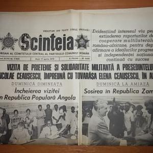 ziarul scanteia 17 aprilie 1974 ( vizita lui ceausescu in angola si zambia )