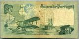 582 BANCNOTA  - PORTUGALIA  - 20 ESCUDOS - anul 1978  -SERIA 062563 -(hidroavion) -starea care se vede