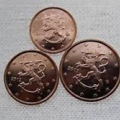 Monede 1, 2, 5 euro centi FINLANDA 2013 UNC, Europa, Cupru-Nichel