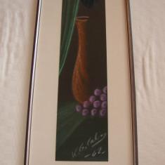Superba pictura, natura moarta, pastel pe carton semnat V.G.C. datat 1962, Altul