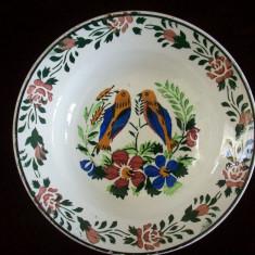 Farfurie Ungureasca Hollohaza de la sfarsitul sec.XIX-lea, model cu pasarele.Reducere!! - Arta Ceramica