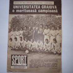 Revista SPORT (mai1980) UNIVERSITATEA CRAIOVA - Campioana; semifinalistele Cupei Romaniei