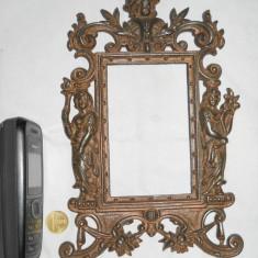 Veche Rama Foto 1900 masiva cu Ornamente Splendide executata manual superb