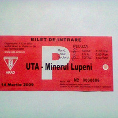 UTA-Minerul Lupeni (14 martie 2009) / bilet - Program meci