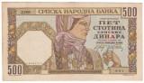 SV * 500  DINARA  1941 Serbia (Iugoslavia)  ,  ocupatia germana WWII     AUNC
