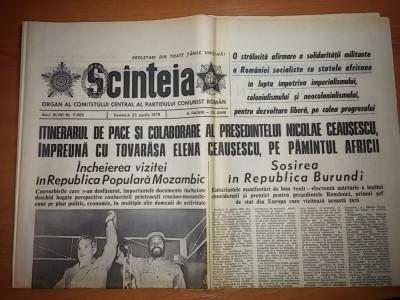 ziarul scanteia 22 aprilie 1979 ( vizita lui ceausescu in mozambic si burundi ) foto