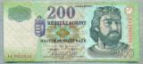 617 BANCNOTA  - UNGARIA - 200 FORINT - anul 2005  -SERIA 7927633 -starea care se vede