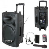Cumpara ieftin SUPER BOXA ACTIVA/AMPLIFICATA CU MIXER INCLUS,AFISAJ,MP3 PLAYER STICK/CARD,300 WATT p.m.p.o+MICROFOANE WIRELESS+TELECOMANDA+ACUMULATOR.