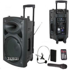 SUPER BOXA ACTIVA/AMPLIFICATA CU MIXER INCLUS, AFISAJ, MP3 PLAYER STICK/CARD, 300 WATT p.m.p.o+MICROFOANE WIRELESS+TELECOMANDA+ACUMULATOR. - Echipament karaoke