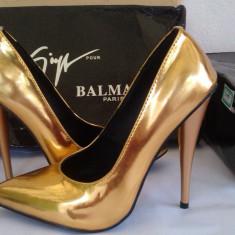 Pantofi stiletto Giuseppe Zanotti MIRROR GOLD - PE STOC - Super Promotie!!! - Pantof dama Giuseppe Zanotti, Culoare: Auriu, Marime: 37, Cu toc