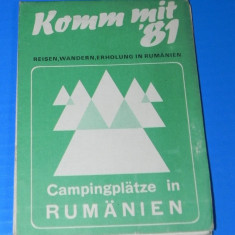 ROMANIA HARTA CAMPINGURILOR 1981. LIMBA GERMANA. Camping