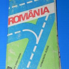 ROMANIA HARTA ADMINISTRATIV-RUTIERA. 1985. CU INDICE DE LOCALITATI