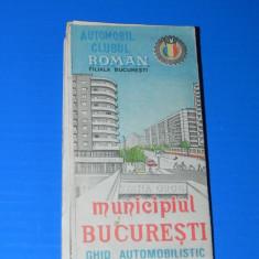 MUNICIPIUL BUCURESTI - GHID AUTOMOBILISTIC. ACR 1991. HARTA
