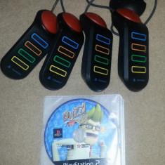 Set BUZZ playstation 2 cu joc original compatibil ps2 + 4 manete buzz ps 2, Alte accesorii