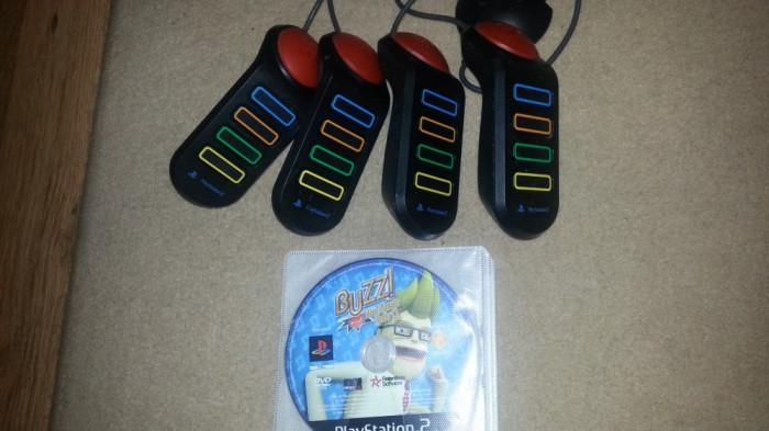 Set BUZZ playstation 2 cu joc original compatibil ps2 + 4 manete buzz ps 2