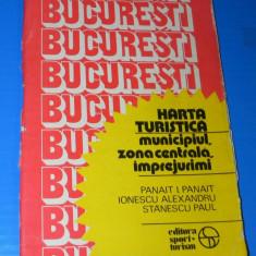 BUCURESTI - ZONA CENTRALA SI IMPREJURIMI HARTA TURISTICA - PANAIT PANAIT 1983