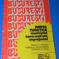 MUNICIPIUL BUCURESTI - ZONA CENTRALA SI IMPREJURIMI HARTA TURISTICA - PANAIT PANAIT 1985
