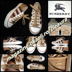 TENISI BEJ NUDE DAMA firma BURBERRY LONDON ESTABLISHED 1856 NEW EDITION TENESI - Tenisi dama Burberry, Culoare: Alb, Negru, Marime: 36, 37, 38, 39, Textil