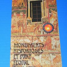 PLIANT turistic MONUMENTE ISTORICE SI DE ARTA FEUDALA DIN ROMANIA. In limba franceza - Reclama Tiparita