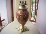 Lampa de birou din majolica de la jumatatea sec.XIX.Sticla lipseste.