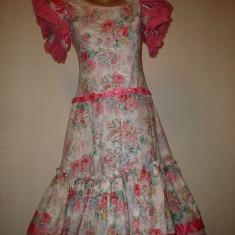 Rochie cu imprimeu floral cu aplicatii de dantela si panglici roz - Rochie de zi, Marime: S, Culoare: Multicolor, Scurta, Bumbac
