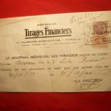 Chitanta pt.Abonament Presa cu Timbru Oficial Franta -pt. Bucuresti 1939