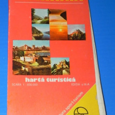 ROMANIA HARTA TURISTICA EDITIA A 3-A . 1987. CU INDICE DE LOCALITATI