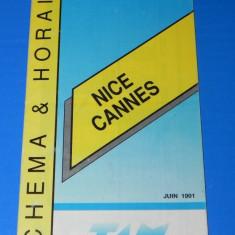 PLIANT ORAR TANSPORT ALPI IUNIE 1991 NICE CANNES - Reclama Tiparita