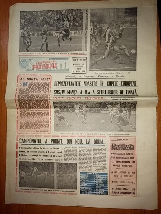 ziarul sportul-supliment fotbal 10 martie 1989 ( prima etapa a returului )
