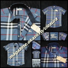 CAMASA BARBATI 3XL BLEU GRI PETROL MANECA SCURTA FIRMA BURBERRY REGULAR FIT, XXXL