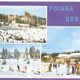 CPI (B4364) POIANA BRASOV, 1, 2, 3 IMAGINI DE IARNA, CIRCULATA, 24.10.1988, STAMPILE, TIMBRU IMPRIMAT - Carte Postala Transilvania dupa 1918, Fotografie