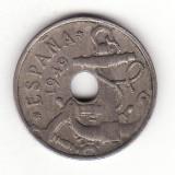 Spania 50 centimos 1949, 52 in stea - KM# 777, Europa