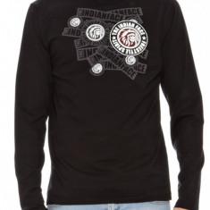 Bluza barbati - T-shirt maneca lunga 100% bumbac - IN STOC - marime L, Marime: L, Culoare: Negru, La baza gatului