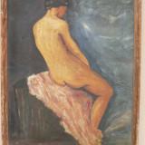 NUD - ULEI PE CARTON - 54 X 38 CM ( 56 X 40 ) - SEMNAT JOS EMIL E. 1965 - Pictor roman