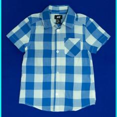 DE FIRMA _ Camasa cu maneca scurta, frumoasa, bumbac, H&M _ baieti | 2 - 3 ani, Marime: Alta, Culoare: Albastru