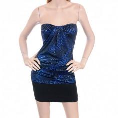 Rochie Negru cu Albastru, Multicolor, L, M, S, Scurta